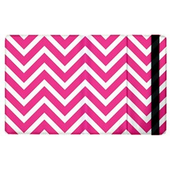 Chevrons Stripes Pink Background Apple Ipad 2 Flip Case by Nexatart
