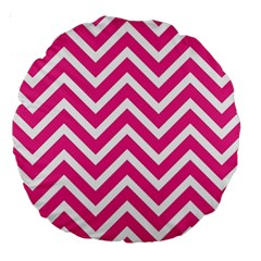 Chevrons Stripes Pink Background Large 18  Premium Round Cushions by Nexatart