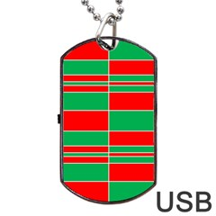 Christmas Colors Red Green Dog Tag Usb Flash (one Side) by Nexatart
