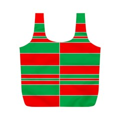 Christmas Colors Red Green Full Print Recycle Bags (m)