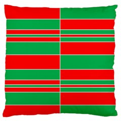 Christmas Colors Red Green Large Flano Cushion Case (one Side) by Nexatart