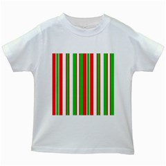 Christmas Holiday Stripes Red Green,white Kids White T Shirts