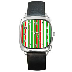 Christmas Holiday Stripes Red Green,white Square Metal Watch by Nexatart