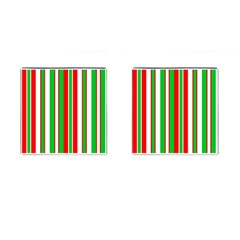 Christmas Holiday Stripes Red Green,white Cufflinks (square) by Nexatart