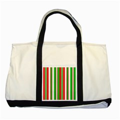 Christmas Holiday Stripes Red Green,white Two Tone Tote Bag by Nexatart