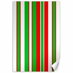 Christmas Holiday Stripes Red Green,white Canvas 24  X 36  by Nexatart