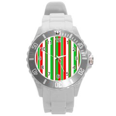 Christmas Holiday Stripes Red Green,white Round Plastic Sport Watch (l) by Nexatart