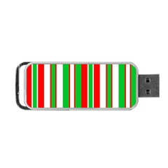 Christmas Holiday Stripes Red Green,white Portable Usb Flash (two Sides) by Nexatart