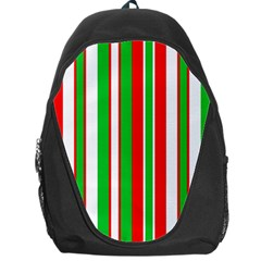 Christmas Holiday Stripes Red Green,white Backpack Bag