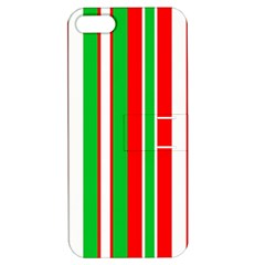 Christmas Holiday Stripes Red Green,white Apple Iphone 5 Hardshell Case With Stand by Nexatart