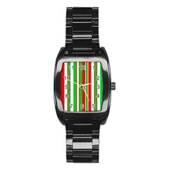 Christmas Holiday Stripes Red Green,white Stainless Steel Barrel Watch
