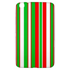 Christmas Holiday Stripes Red Green,white Samsung Galaxy Tab 3 (8 ) T3100 Hardshell Case