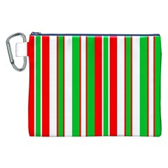 Christmas Holiday Stripes Red Green,white Canvas Cosmetic Bag (xxl) by Nexatart