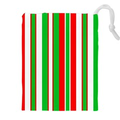 Christmas Holiday Stripes Red Green,white Drawstring Pouches (xxl)