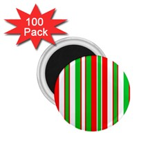 Christmas Holiday Stripes Red Green,white 1 75  Magnets (100 Pack)  by Nexatart