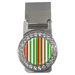 Christmas Holiday Stripes Red Green,white Money Clips (cz)  by Nexatart