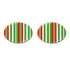 Christmas Holiday Stripes Red Green,white Cufflinks (oval) by Nexatart