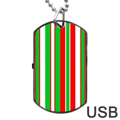 Christmas Holiday Stripes Red Green,white Dog Tag Usb Flash (two Sides) by Nexatart