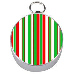 Christmas Holiday Stripes Red Green,white Silver Compasses