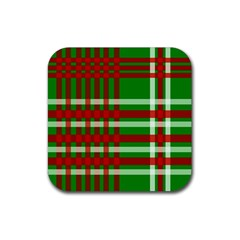 Christmas Colors Red Green White Rubber Coaster (square)