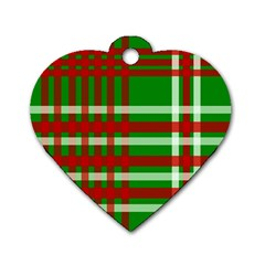 Christmas Colors Red Green White Dog Tag Heart (one Side)