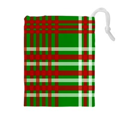 Christmas Colors Red Green White Drawstring Pouches (extra Large) by Nexatart