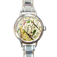 Christmas Ribbon Background Round Italian Charm Watch