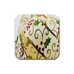 Christmas Ribbon Background Rubber Coaster (square)