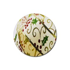 Christmas Ribbon Background Rubber Round Coaster (4 Pack)  by Nexatart