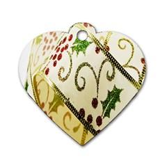 Christmas Ribbon Background Dog Tag Heart (one Side) by Nexatart