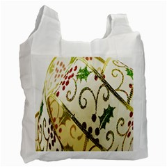 Christmas Ribbon Background Recycle Bag (two Side)