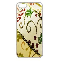 Christmas Ribbon Background Apple Seamless Iphone 5 Case (clear) by Nexatart
