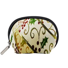 Christmas Ribbon Background Accessory Pouches (small)