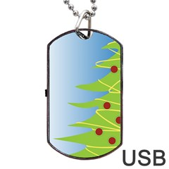 Christmas Tree Christmas Dog Tag Usb Flash (one Side)