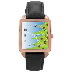 Christmas Tree Christmas Rose Gold Leather Watch  by Nexatart