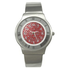 Christmas Wrap Pattern Stainless Steel Watch