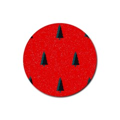 Christmas Time Fir Trees Rubber Round Coaster (4 Pack)  by Nexatart