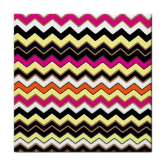 Colorful Chevron Pattern Stripes Tile Coasters by Nexatart