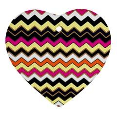 Colorful Chevron Pattern Stripes Ornament (heart)