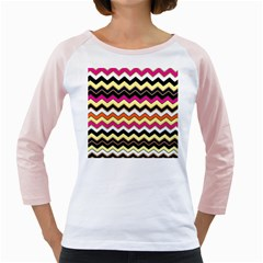 Colorful Chevron Pattern Stripes Girly Raglans