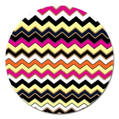 Colorful Chevron Pattern Stripes Magnet 5  (round)