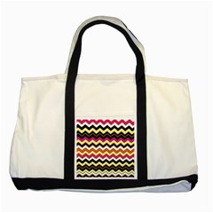 Colorful Chevron Pattern Stripes Two Tone Tote Bag by Nexatart