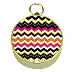 Colorful Chevron Pattern Stripes Gold Compasses