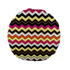 Colorful Chevron Pattern Stripes Standard 15  Premium Flano Round Cushions by Nexatart