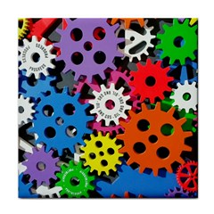 Colorful Toothed Wheels Tile Coasters