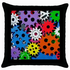 Colorful Toothed Wheels Throw Pillow Case (black) by Nexatart