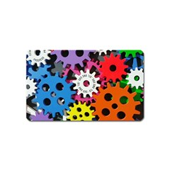 Colorful Toothed Wheels Magnet (name Card) by Nexatart
