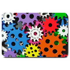Colorful Toothed Wheels Large Doormat  by Nexatart