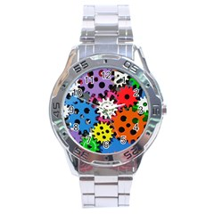 Colorful Toothed Wheels Stainless Steel Analogue Watch by Nexatart