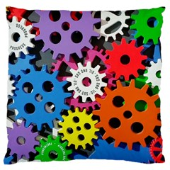 Colorful Toothed Wheels Large Cushion Case (two Sides)